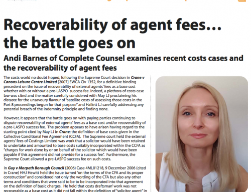 Recoverability of agent fees… the battle goes on by Andi Barnes